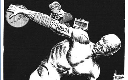 Karikatura: Merkelova pokušava da spašava evrozonu ali i njemačke interese na slučaju Grčke