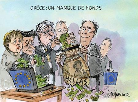 """Karikatura: """"Grčka: nedostatak finansijskih sredstava"""""""