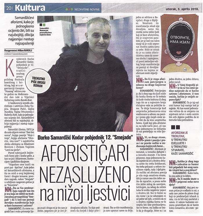 intervju za nezavisne novine