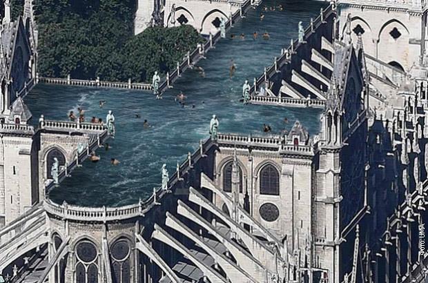 ljudi se kupaju na krovu katedrale